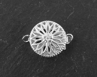 Sterling Silver Filigree Round Clasp 12mm (CG7062)