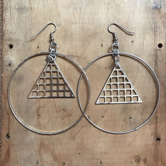 Large Hoop Earrings // Geometric // Triangle Earrings // Hip Hop // Avant Garde // Mod // 90s Grunge // Repurposed Jewelry // Gift for Her