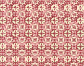Red and Ivory Italian Floral Tile Print Paper ~ Kartos Italy K190R