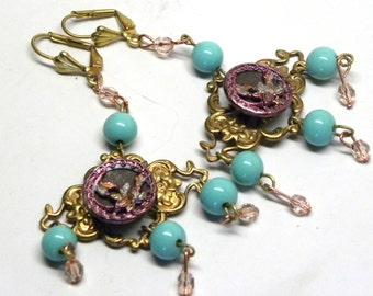 Antique Victorian Pink Metal Lily FLOWER BUTTON Chandelier EARRINGS BoHo Rose  Crystal Miram Haskell elements Turquoise Glass Beads