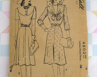 1940s McCalls pattern 4802 misses dress size 18 bust 36