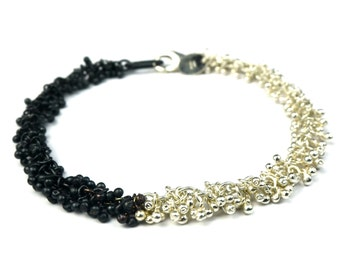 Sterling silver bracelet, contemporary jewellery, black and silver statement bracelet with black patina, gift for women