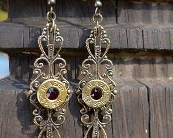 Bullet Earrings filigree dangle/drop earrings Blazer .38 Special earrings brass/gold earrings bullet jewelry with Swarovski crystals