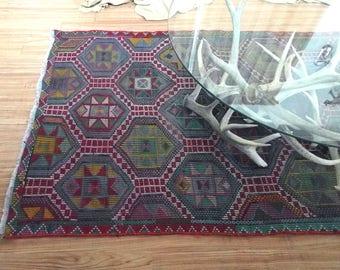 7 x 4 vintage tribal TURKISH wool handwoven KILIM area rug