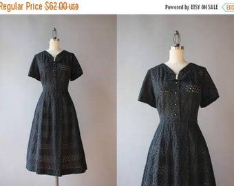 STOREWIDE SALE Vintage 50s Dress / 1950s Sheer Black Eyelet Dress / 50s Bow Neck Cotton Day Dress large L