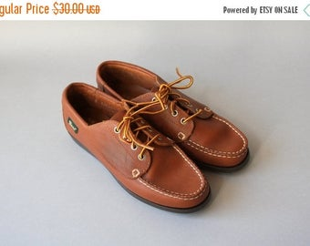 STOREWIDE SALE Vintage 90s Shoes / 1990s Leather Bass Oxfords / 80s 90s Bass Moc Toe Lace up Leather Shoes