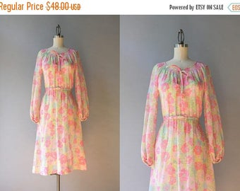 STOREWIDE SALE 1970s Dress / Vintage 70s Pink Floral Peasant Dress / 70s Sheer Cotton Bow Neck Dress M L medium large