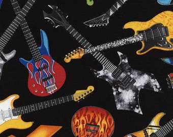 Tossed Electric Guitars Black Multi Timeless Treasures fabric 1 yard