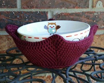 Crochet Bowl Covers, Microwaveable Cotton Bowl Holders, Microwave Hot Pad, Pot Holder, made to order