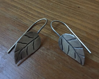 Hand Stamped Silver Drop Leaf Earrings Silversmith-Metalsmith Jewelry