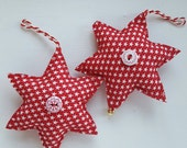 Christmas tree hanging star decorations. Tree ornaments.  Pair of star hanging decorations