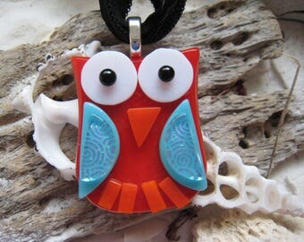 Fused glass OWL Pendant w/ matching silk ribbon~ One Of A Kind (Red/Blue/Orange)