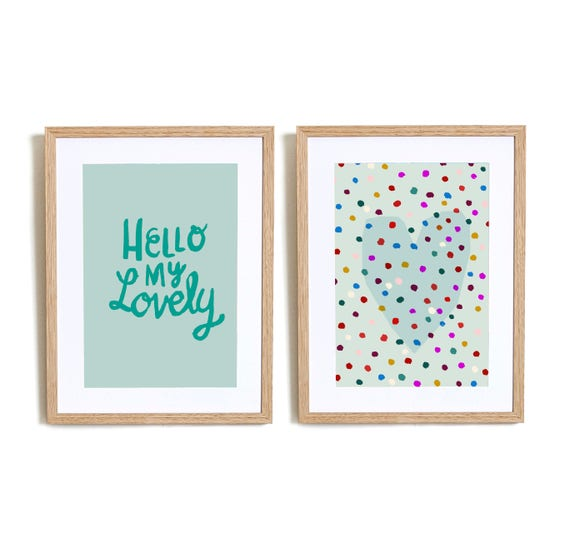 Set of 2  Hello My lovely in Blue  Wall art prints nursery illustration kids decor