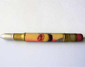 Vintage Bullet Pencil, Native American Pictured in Full Headdress, Souvenier from Hayward, Wisconsin, Vintage Bullet Pencil Collectible