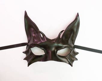 Black Cat Leather Mask costume masquerade elegant sexy great for both average or smaller size faces Burning Man