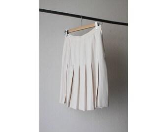 1990s Kenar Eggshell Accordion Pleated Skirt