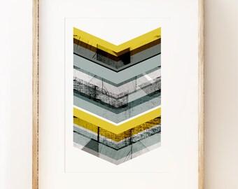 Grey & Yellow Chevron - abstract wall art print
