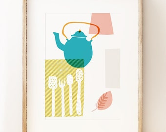 Blue Kettle - abstract kitchen wall art print