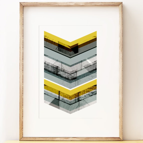 Grey & Yellow Chevron - abstract wall art print