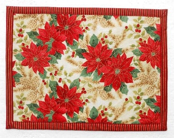 Poinsettia Christmas Placemat, Single Reversible Table Linen, Red Cream Gold Floral Dinner Mat, Cloth Placemat, Christmas Xmas Table Decor
