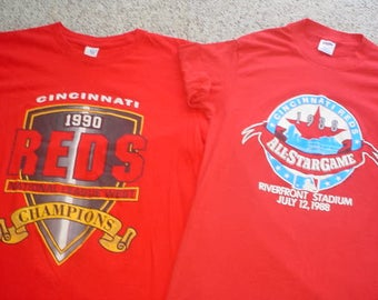 MLB Baseball Cincinnati Reds 2 shirts 1990 large & 1988 all star game medium AS IS