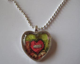 Pretty Love Heart Shaped Glass Tile Pendant