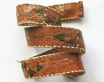 Unique Leather Vintage BELT with Embroidered Decoration and Button Fastener / BOHO Style / Size 27