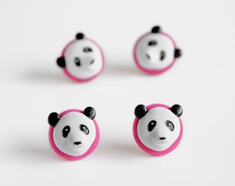 Panda Bear Push Pins. Home Office Organization for Cork Boards, Bulletin Boards, Memo Boards. Handmade in Pink Polymer Clay. Gift Set of 4