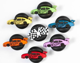 Race Car Magnet Racing Fan Colorful Rainbow Red Orange Yellow Green Blue Purple. Home Office, Father's Day Gift For Dad, For Him Set of 7.