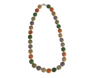 Jade Necklace | Multi Colored Jades | Vintage Natural Stone Jewelry | Asian Style | Retro Fashion
