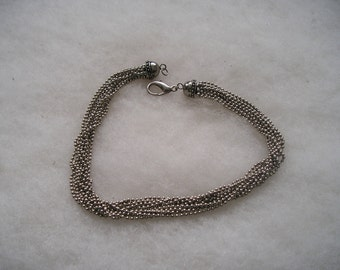 Multi Strand Silvertone Beaded Ball Chain Necklace