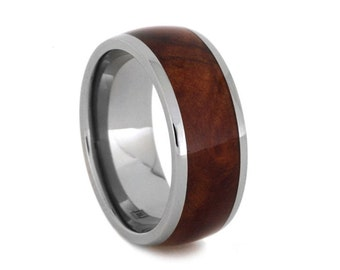 Man Wood Ring, Titanium Wedding Band With A Coolibah Wood Inlay, Nature Inspired Ring