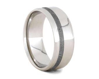 Gibeon Meteorite Wedding Band, Platinum Ring For Him, Handmade Meteorite Ring, Customizable Jewelry