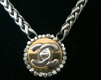 Mixed Metal Necklace Made from Vintage Chanel Earring