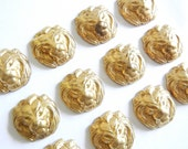 12 or 6 Pairs of Small Brass Lion Head Stampings