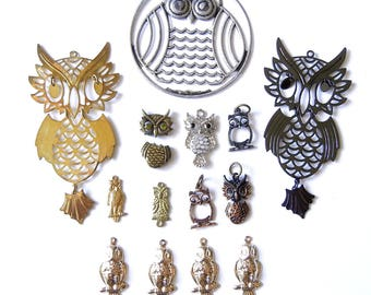 Variety of 14 Owl Charms and Pendants