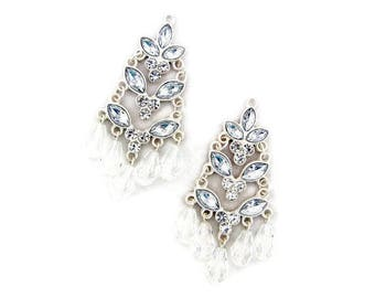Pair of Matte Silver-tone Rhinestone Tiered Charms