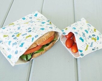 PLASTIC-FREE Organic Cotton Sandwich and Snack Bags, Reusable, Eco Friendly - Blue Butterflies - Set of 2 - Back to School