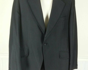 Black tuxedo jacket suit coat with braid trim size 40 to 42 regular chest 44in. length 31in.