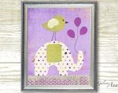 Nursery print - childrens art print - kids room decor - baby room decor -  Elephant - Bird - Ballons - A Special Day print