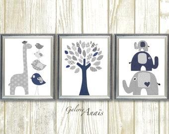 Elephant Nursery Art Zoo Nursery Wall Art baby nursery art print Kids wall art navy gray giraffe Nursery bird Tree Set of three prints