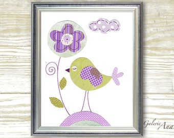 Nursery Decor - Children Art - baby nursery art - kids art - bird nursery - kids room decor- Summer Is Here print