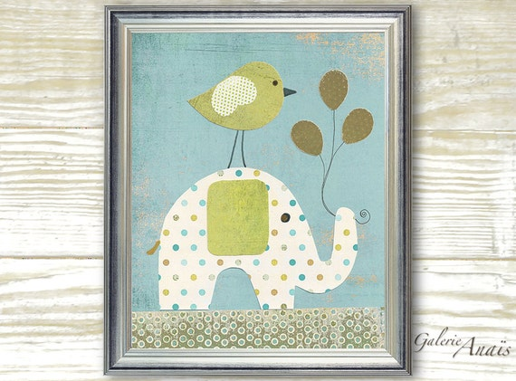 Baby decor nursery - kids art - baby nursery - kids room decor - boy room - kids elephant - Bird Balloons - A Special Day print Paris
