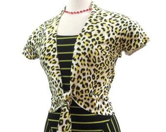 Vintage 90s Sweater Tie Front Leopard Cap sleeve Cardigan L