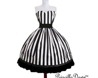 Custom in your size Beetle Juice Stripe ruffle dress Tim Burton Black and White Dress made custom to your size