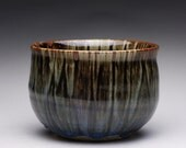 handmade matcha chawan, ceramic tea bowl, pottery bowl with black tenmoku and blue chun glazes