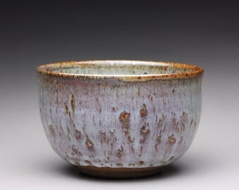 handmade pottery bowl, ceramic serving bowl, matcha bowl with creamy gray and white wood ash glazes