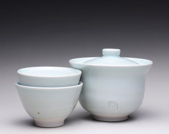 RESERVED handmade porcelain gaiwan, pottery tea set, gaiwan and matching cups with turquoise celadon and white glazes