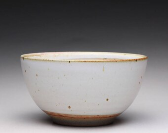 handmade pottery bowl, ceramic bowl, serving bowl with satin white and white shino glazes