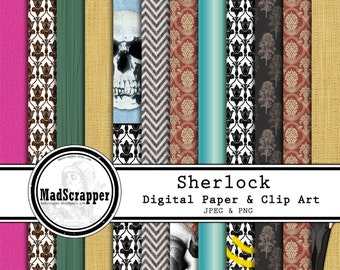 Digital Scrapbook Sherlock Holmes Backgrounds 12 Patterns 5 Solids 12 x 12 Instant Download PLUS Clipart